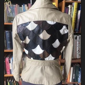 Vintage leather Jacket Scalloped Patchwork Sz Sm